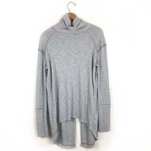 Free People Long gray ribbed turtle neck tunic